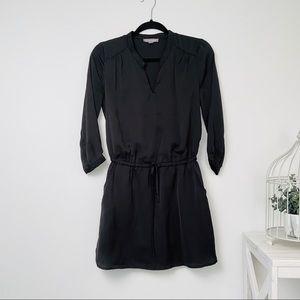 Black satin shirt dress
